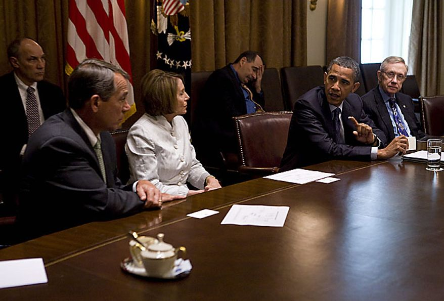 U.S. President Barack Obama holds a bi-partisan meeting in the Cabinet Room of the White House in Washington on July 27, 2010. House Minority Leader John Boehner (L), House Speaker Nancy Pelosi (2nd L), Senate Majority Leader Harry Reid (R) and Senate Minority Leader Mitch McConnell (not pictured) attended the meeting. UPI/Kristoffer Tripplaar/Pool