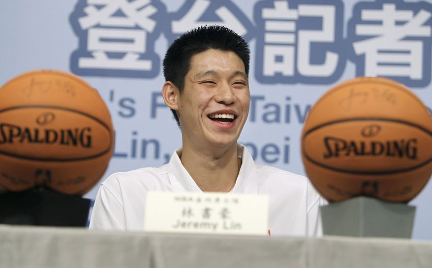 NBA player of the Golden State Warriors Jeremy Lin speaks with media during a press conference on Wednesday, July 28, 2010, in Taipei, Taiwan. Lin, the first Taiwanese American to join the NBA, signed with the Golden State Warriors of Oakland, Calif. and is set to play the point guard position in the upcoming season. (AP Photo/Wally Santana)
