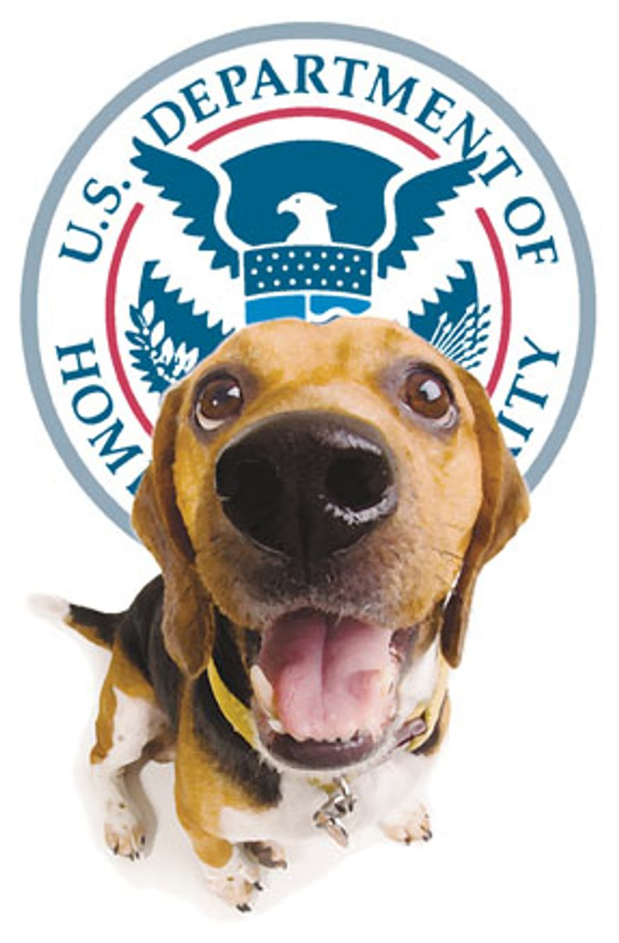 Illustration: Homeland Security dog by Greg Groesch for The Washington Times