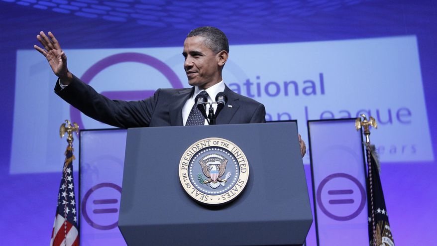 President Obama gestures while delivering remarks on education at the National Urban League's 100th anniversary convention in Washington on Thursday, July 29, 2010. (AP Photo/Pablo Martinez Monsivais)