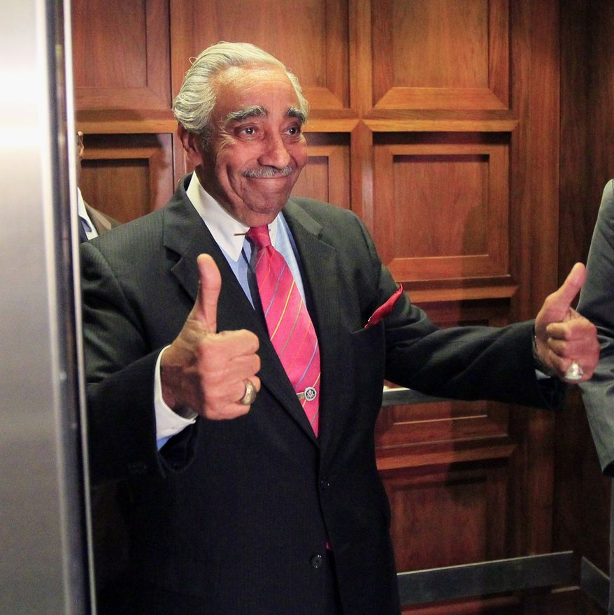 Rep. Charles B. Rangel, New York Democrat, gives a thumbs-up as he gets on an elevator on his way for a vote on Capitol Hill in Washington on Wednesday, July 28, 2010. (AP Photo/Alex Brandon)