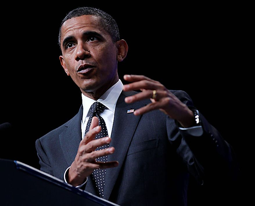 President Obama gestures while addressing the National Urban League's 100th anniversary convention in Washington on Thursday, July 29, 2010. (AP Photo/Pablo Martinez Monsivais)
