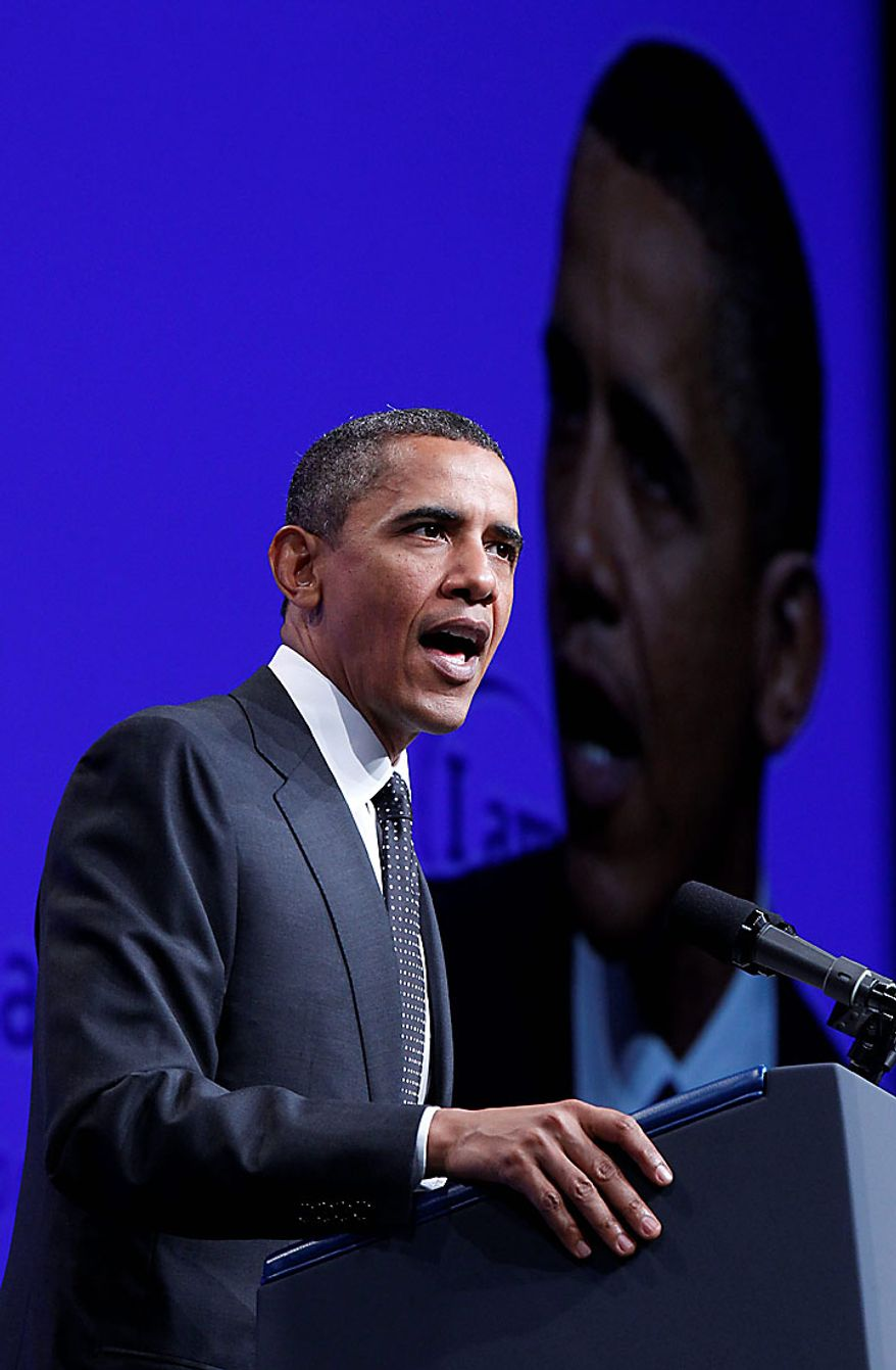 President Obama delivers remarks at the National Urban League's 100th anniversary convention in Washington on Thursday, July 29, 2010. (AP Photo/Pablo Martinez Monsivais)