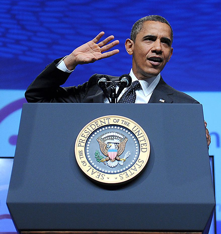 President Obama delivers an education reform speech at the National Urban League's 100th anniversary convention at the Washington Convention Center in Washington on Thursday, July 29, 2010. (UPI/Roger L. Wollenberg)