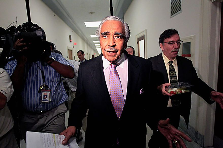 Rep. Charles Rangel, D-N.Y., walks to his office after going for a vote on Capitol Hill in Washington, Thursday, July 29, 2010. (AP Photo/Alex Brandon)