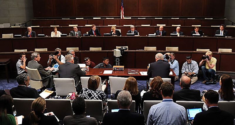 Rep. Jo Bonner (R-AL) (R) and Rep. Gene Green (D-TX) testify before a House Ethics Subcommittee hearing on the alleged ethics violations conducted by Rep. Charlie Rangel, in Washington on July 29, 2010.  Bonner and Green announced Rangel's charges which include allegations including failure to pay taxes, misuse of rental property and soliciting funds for a center at City College of New York.  UPI/Kevin Dietsch