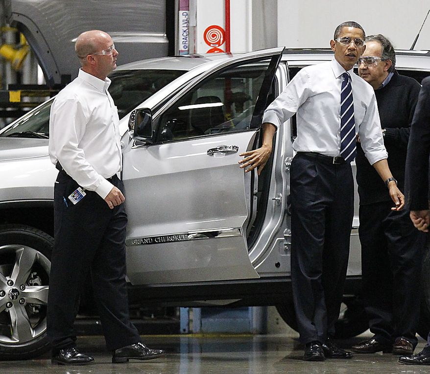President Barack Obama steps out of a 2011 Jeep Grand Cherokee during his tour the Jefferson North Chrysler Plant in Detroit, Friday, July 30, 2010. With Obama is Chrysler CEO Sergio Marchionne, right, and  Plant Manager Patrick Walsh. (AP Photo/Pablo Martinez Monsivais)