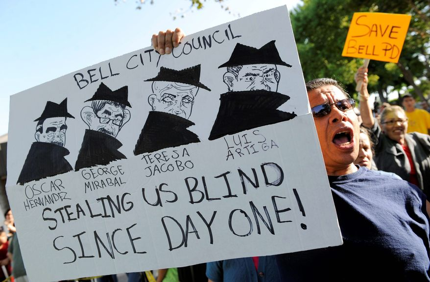 Public demonstrations drew 1,000 protesters to Bell City Hall last week. Protesters called for the resignation of the part-time City Council members who approved the six-figure salaries of officials, and who themselves received high pay after holding a 2005 special election to make Bell a charter city. (Associated Press)