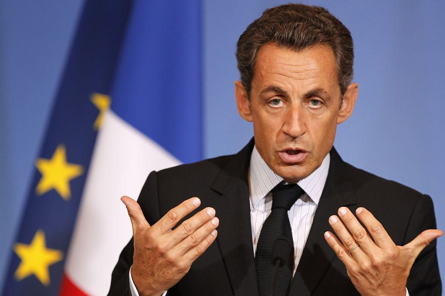 French President Nicolas Sarkozy delivers a speech in Grenoble, France, on Friday, July 30, 2010. Mr. Sarkozy said in the address that he wants to revoke the French citizenship of immigrants who endanger the lives of police officers. (AP Photo/Laurent Cipriani)