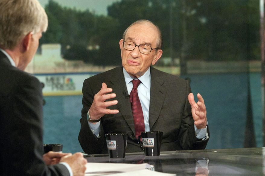"""Meet the Press"" moderator David Gregory (left) interviews former Federal Reserve Chairman Alan Greenspan on Sunday, Aug. 1, 2010. Mr. Greenspan said a rising stock market will do more to stimulate the economy than any of the remedies now being discussed. (AP Photo/NBC, Stephen J. Boitano)"