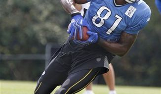 Detroit Lions running back Jahvid Best runs drills during NFL football training camp in Allen Park, Mich., Tuesday, Aug. 10, 2010. (AP Photo/Paul Sancya)
