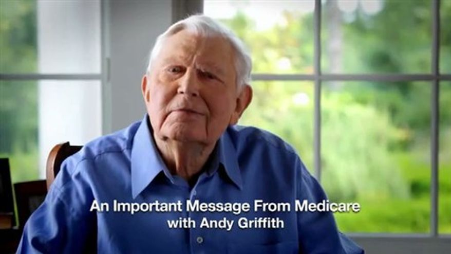 This undated handout video image provided by Medicare.gov shows actor Andy Griffith in a new role: pitching President Barack Obama's health care law to seniors, in a cable television ad paid for by Medicare. (AP Photo/Medicare.gov)