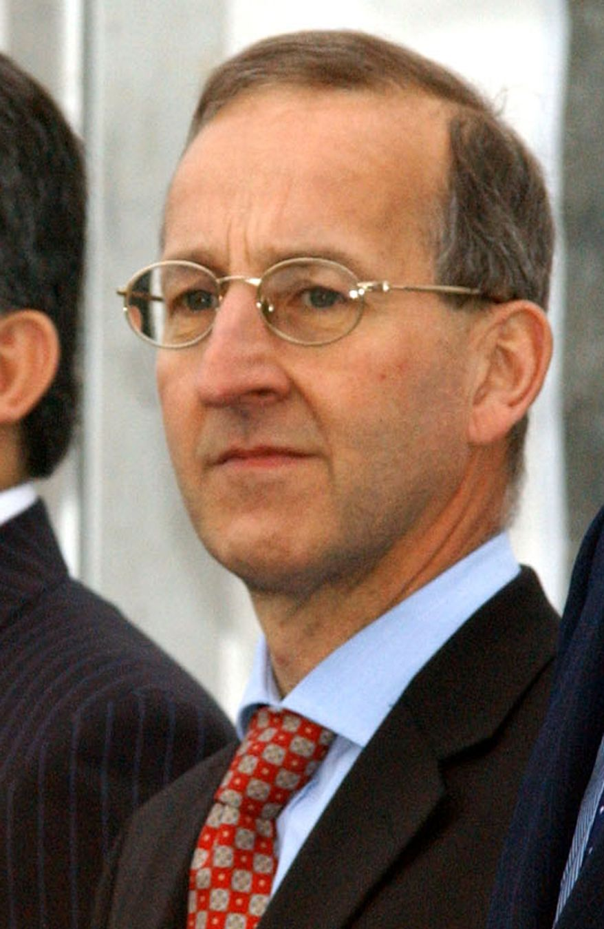 ** FILE ** This is a Friday April 2, 2004 file photo of British diplomat Peter Ricketts, at NATO headquarters in Brussels. Mr. Rickett's who became Britain's first national security adviser is to leave his post, the government confirmed Monday, Aug. 2. 2010, less than three months after the official took up the newly created role. (AP Photo/Geert Vanden Wijngaert, file)