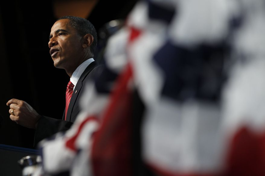 President Obama speaks about Iraq and Afghanistan , Monday, Aug. 2, 2010, at the Disabled American Veterans national convention in Atlanta. (AP Photo/Charles Dharapak)