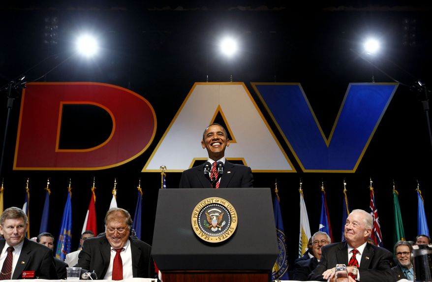 President Obama speaks about Iraq and Afghanistan, Monday, Aug. 2, 2010, at the Disabled American Veterans national convention in Atlanta. (AP Photo/Charles Dharapak)