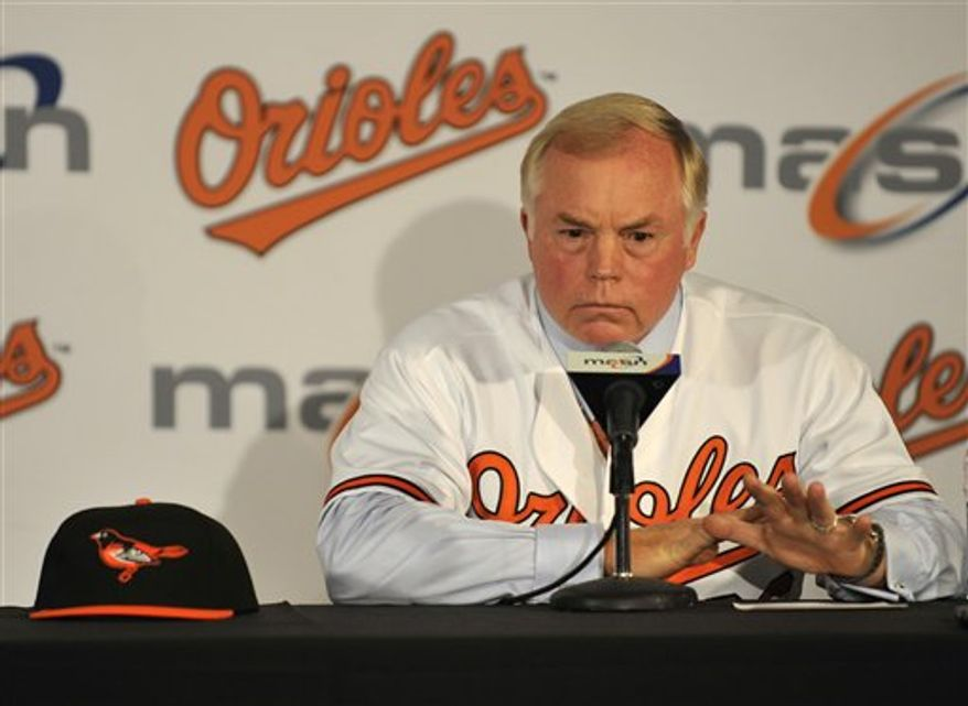 New Baltimore Orioles manager Buck Showalter, right, and Orioles President of baseball operations Andy MacPhail smile during a news conference Monday, Aug. 2, 2010,  in Baltimore.(AP Photo/Gail Burton)