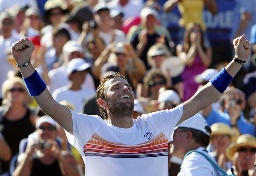 ** FILE ** In this July 25, 2010, file photo, Mardy Fish reacts after defeating John Isner, 4-6, 6-4, 7-6 (7-4) in the finals of the Atlanta Tennis Championships tennis tournament in John's Creek, Ga. (AP Photo/John Bazemore, file)