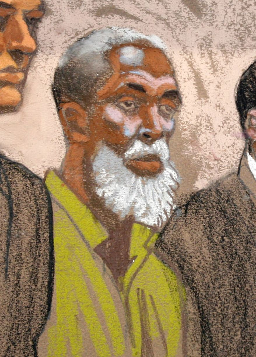 This courtroom sketch shows Russell Defreitas, at his arraignment at federal court in the Brooklyn borough of New York, Saturday, June 2, 2007. A New York jury has convicted him of plotting to blow up John F. Kennedy International Airport. (AP Photo/Christine Cornell)