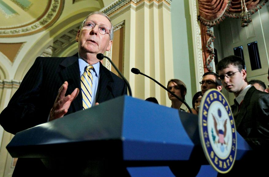 Associated Press Senate Minority Leader Mitch McConnell, Kentucky Republican, said he supports holding hearings on the 14th Amendment, which grants automatic citizenship to those born in the U.S.