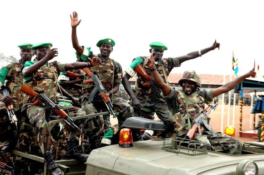 The Ugandan People's Defense Force is part of the African Union mission in Somalia. African leaders are pledging thousands of troops for Somalia to fight militants responsible for the World Cup bombings, which killed 76 people. (Associated Press)