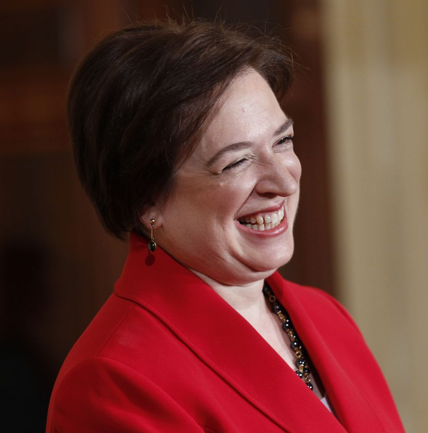 U.S. solicitor general Elena Kagan smiles in the East Room of the White House in Washington, Friday, Aug. 6, 2010, during a ceremony with President Barack Obama after her confirmation as Supreme Court justice by the Senate on Thursday. (AP Photo/Pablo Martinez Monsivais)