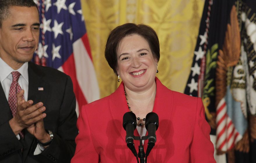 President Barack Obama applauds Elena Kagan during a ceremony to mark her confirmation to become the next Supreme Court justice, Friday, Aug. 6, 2010, in the East Room of the White House in Washington, D.C. Kagan is the first Supreme Court nominee in nearly 40 years with no experience as a judge, and her addition will mark the first time that three women will serve on the nine-member court together. She was sworn in Saturday as the successor to retired Justice John Paul Stevens. (AP Photo/J. Scott Applewhite)