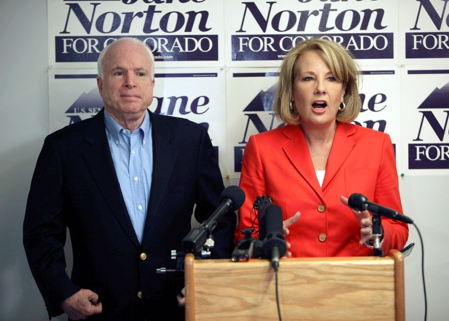 Associated Press Arizona Sen. John McCain lends support Sunday in Centennial, Colo., to a fellow Republican, former Colorado Lt. Gov. Jane Norton, in her bid for the party's senatorial nomination in Tuesday's primary.
