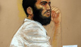 ** FILE ** Canadian defendant Omar Khadr is shown at a hearing at the Camp Justice compound at Guantanamo Bay Naval Base in Cuba in this April 28, 2010, photo of a sketch drawn by courtroom artist Janet Hamlin and reviewed by a U.S. Department of Defense official. (AP Photo/Janet Hamlin, Pool, File)