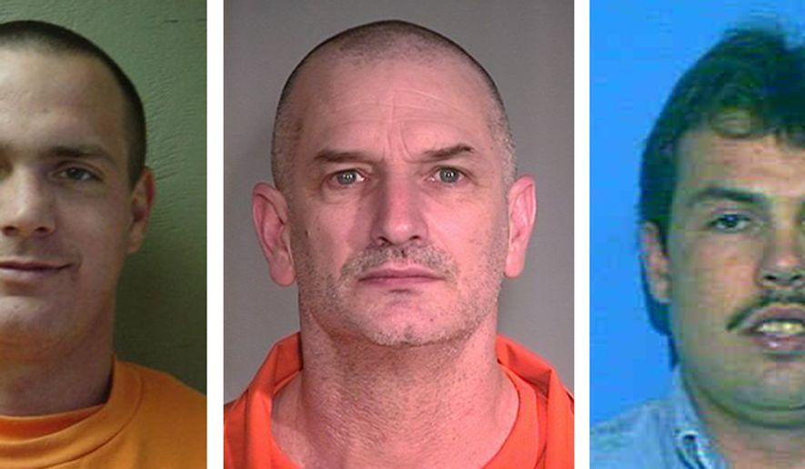 Tracy Province (left), John McCluskey (center) and Daniel Renwick are shown in a combination of undated photos provided by the Mohave County (Ariz.) Sheriff's Office. New Mexico State Police say Province, McCluskey and Casslyn Welch, who allegedly helped the three men escape from prison, have been linked to a couple's killing. (AP Photo/Mohave County [Ariz.] Sheriff's Office, File)