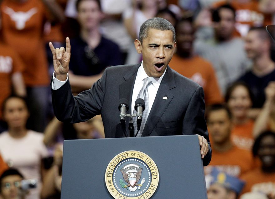 """Associated Press President Obama gives a """"hook 'em horns"""" sign as he speaks at the University of Texas in Austin. On Monday, Mr. Obama visited several Texas cities to gather Democratic votes."""