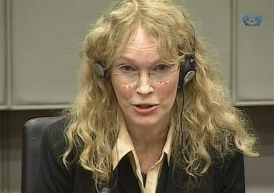 Carole White the former agent of model Naomi Campbell is seen in this image taken from TV  as she gives evidence at the   U.N.-backed Special Court for Sierra Leone in Leidschendam, Netherlands, Monday, Aug. 9, 2010.   White and actress Mia Farrow testifed about a gift of uncut diamonds the former Liberian president allegedly gave  model Naomi Campbell after a 1997 party. (AP Photo/Special Tribunal for Sierra Leone, Via APTN)