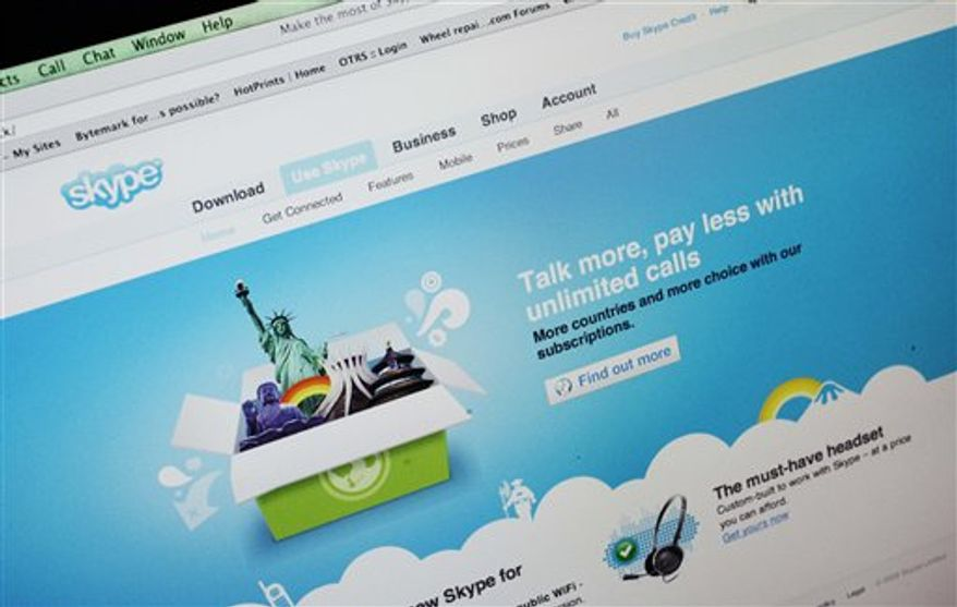 FILE - In this file photo made Sept. 1, 2009, the Skype web browser is shown on a computer screen in Palo Alto, Calif. Skype SA, the Internet calling service that was controlled until last year by eBay Inc., filed Monday, Aug. 9, 2010, for a U.S. initial public offering. Luxembourg-based Skype tentatively put the value of the offering at $100 million, but that's a rough estimate only used as a basis for the filing fee for the Securities and Exchange Commission. (AP Photo/Paul Sakuma, File)