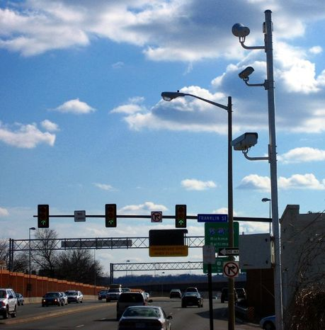 Red light camera at the intersection of Route 1 and Franklin Street in Alexandria, Va.