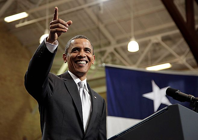 President Barack Obama gestures to the crowd as he arrives at the University of Texas in Austin, Texas, Monday, Aug. 9, 2010. (AP Photo/Carolyn Kaster)