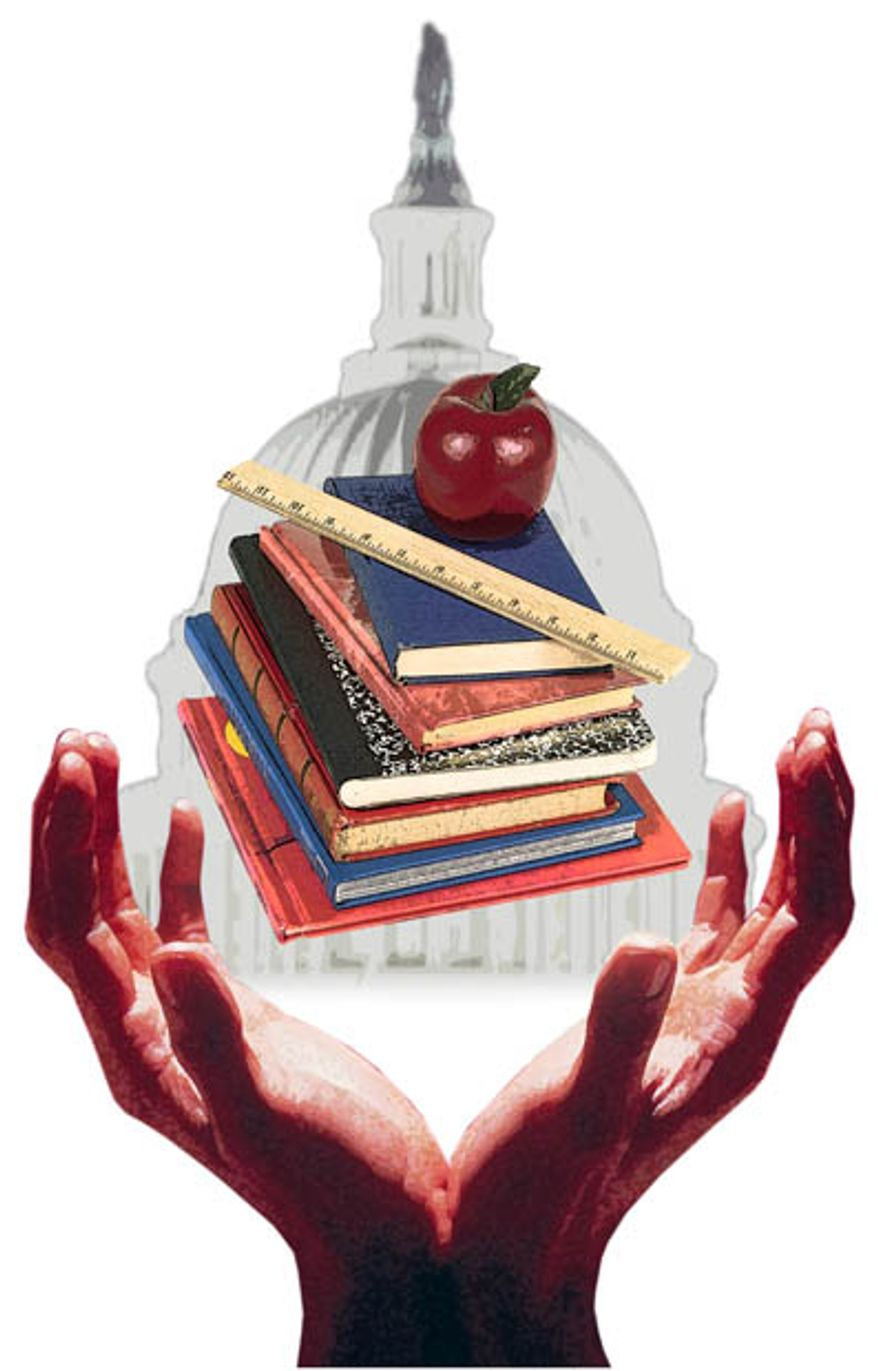 Illustration: School control by Greg Groesch for The Washington Times