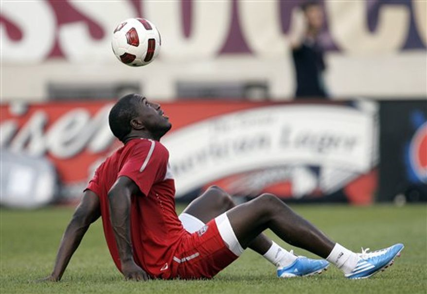 US forward Jozy Altidore dribbles the ball off his head during practice at the New Meadowlands Stadium in East Rutherford , N.J., Monday, Aug. 9, 2010. The United States soccer team will face off against Brazil tomorrow night in an international friendly. (AP Photo/Rich Schultz)