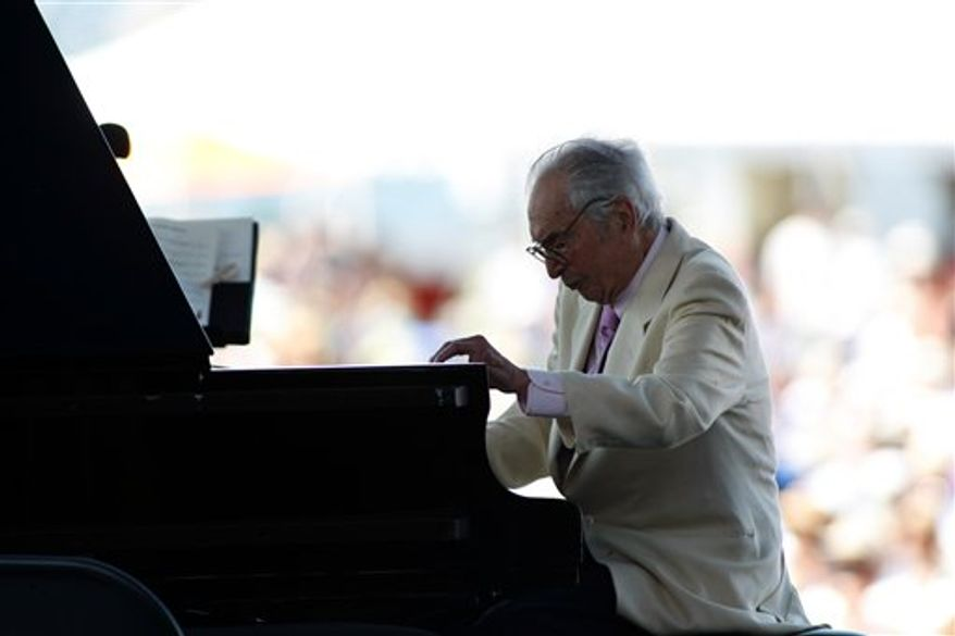 Dave Brubeck plays at the CareFusion Newport Jazz Festival on Sunday, Aug. 8, 2010 in Newport, R.I.  (AP Photo/Joe Giblin)