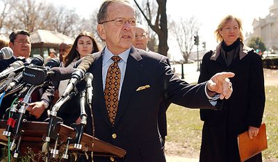 President Pro Tempore Senator Ted Stevens, and Department of the Interior Secretary Gale Norton, right, hold a news conference supporting arctic oil drilling outside the Russell Senate office building in NW Washington DC, Tuesday, March 15, 2005. ( Astrid Riecken / The Washington Times )