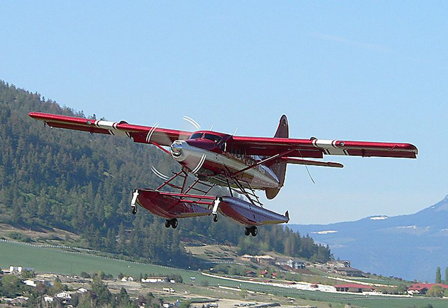 This April 29, 2005 photo released by John Olafson, shows an aircraft with tail number N455A, leaving Vernon, British Columbia, Canada and headed to Alaska. The National Transportation Safety Board reports that at about 8:00 p.m. Alaska Daylight Time on Monday, Aug. 9, 2010, a DeHavilland DHC-3T with tail number N455A crashed 10 miles northwest of Aleknagik, Alaska. (AP Photo/John Olafson)