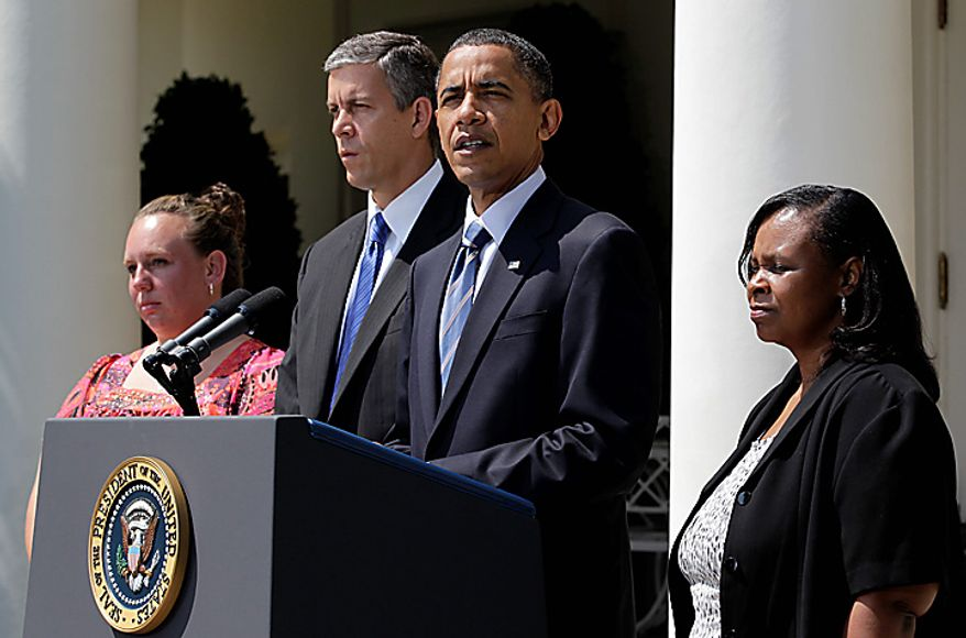President Barack Obama, accompanied by teachers,  and Education Secretary Arne Duncan, speaks in the  Rose Garden of the White House in Washington, Tuesday, Aug. 10, 2010, to urge the House to pass legislation that could help keep 160,000 educators on the job. From left are: Shannon Lewis, of  Romney, W. Va., who was a special education instructor who lost her job in June when her position was cut due to lack of funding, Duncan, the president, and Rachel Martin who taught kindergarten in Richton Park, Ill. until she was laid off in March.  (AP Photo/J. Scott Applewhite)