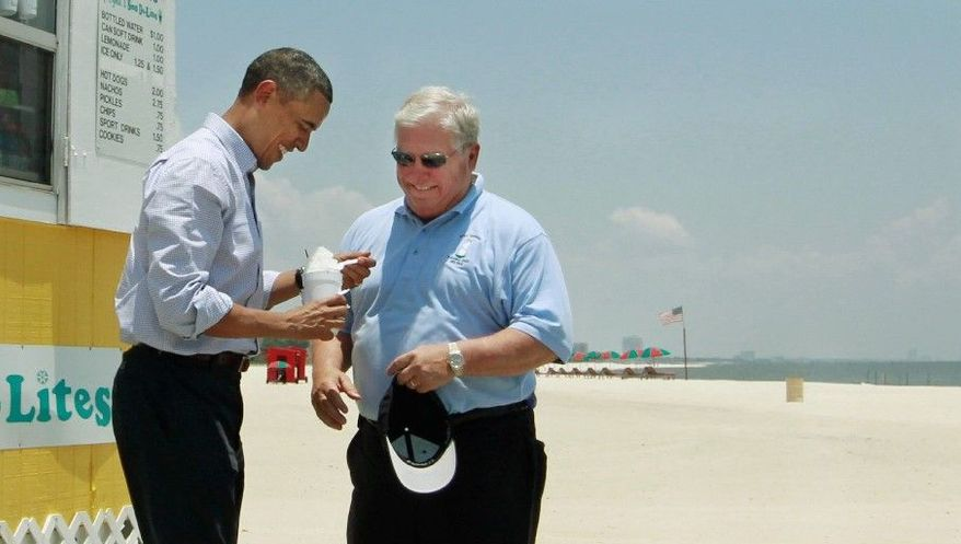 ASSOCIATED PRESS  President Obama has a cool treat with Mississippi Gov. Haley Barbour in June after visiting residents affected by the oil spill. With the number of beachgoers down, Cyndi's Sno De-Lites now remains open only on weekends.