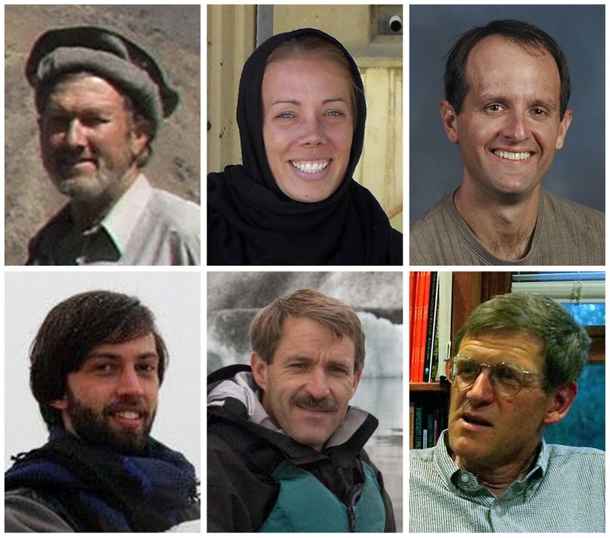 The six American civilian health-care volunteers who were killed in Afghanistan on Thursday, Aug. 5, 2010, are (clockwise from top left) Dan Terry, Cheryl Beckett, Glen Lapp, Tom Little, Thomas Grams and Brian Carderelli. (AP Photo)