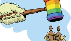 Illustration: Marriage ruling by Alexander Hunter for The Washington Times