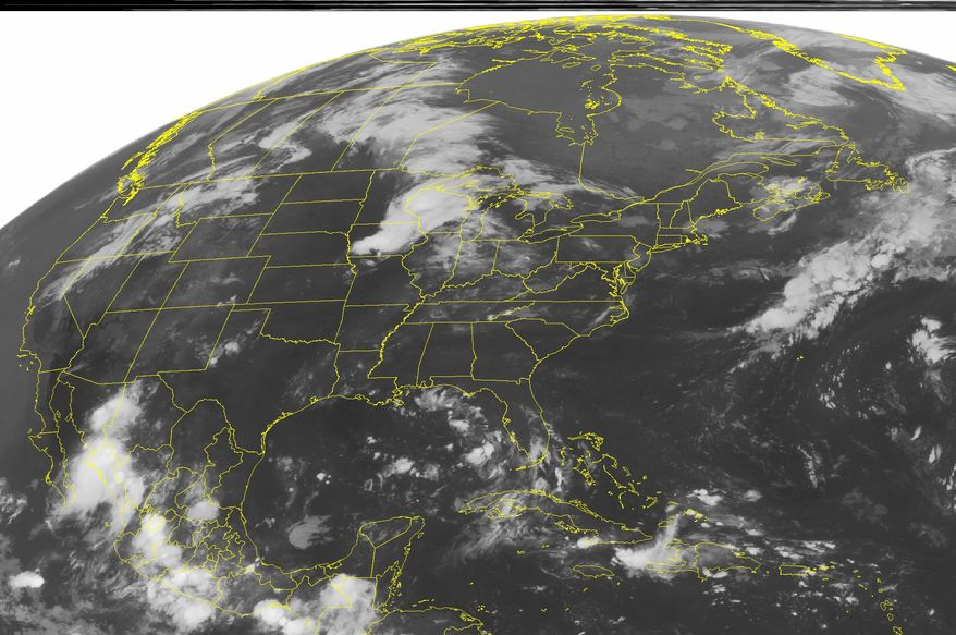 This NOAA satellite image taken on Wednesday, Aug. 11, 2010, at 1:45 a.m. EDT shows clouds associated with Tropical Depression 5 spreading across the eastern Gulf of Mexico. (AP Photo/Weather Underground)