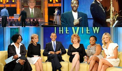 """From top left; George W. Bush appears on NBC's """"Deal or No Deal,"""" Bill Clinton stops by the """"Arsenio Hall Show"""" and President Barack Obama on """"The View."""" (View photo ABC via Associated Press)"""