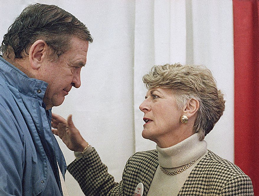 Rep. Dan Rostenkowski, left, chats with former 1984 Democratic vice presidential candidate Geraldine Ferraro during a campaign rally on Sunday, March 13, 1994 at Rostenkowski's campaign headquarters in Chicago, Illinois. Ferraro said she volunteered to campaign for Rostenkowski. (AP Photo/Fred Jewell)