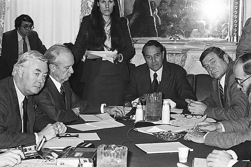 Members of a senate-house conference committee on social security meet, Monday, Dec. 14, 1981 on Capitol Hill, discussing the proposed changes in that program. From left: Sen. Daniel Moynihan, D-N.Y.: Russell Long, D-La.; Robert Dole, R-Kans. And Rep. Dan Rostenkowski, D-Ill. (AP Photo/John Duricka)