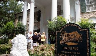 Fans of the King of Rock 'n' Roll enter the front door of Graceland. Presley, who died in 1977, generated more than $60 million last year in revenue from royalties, licensing and Graceland's operations.