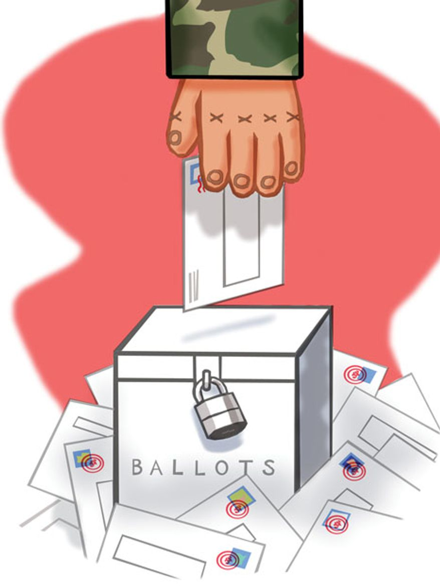 Illustration: Military voting by Alexander Hunter for The Washington Times