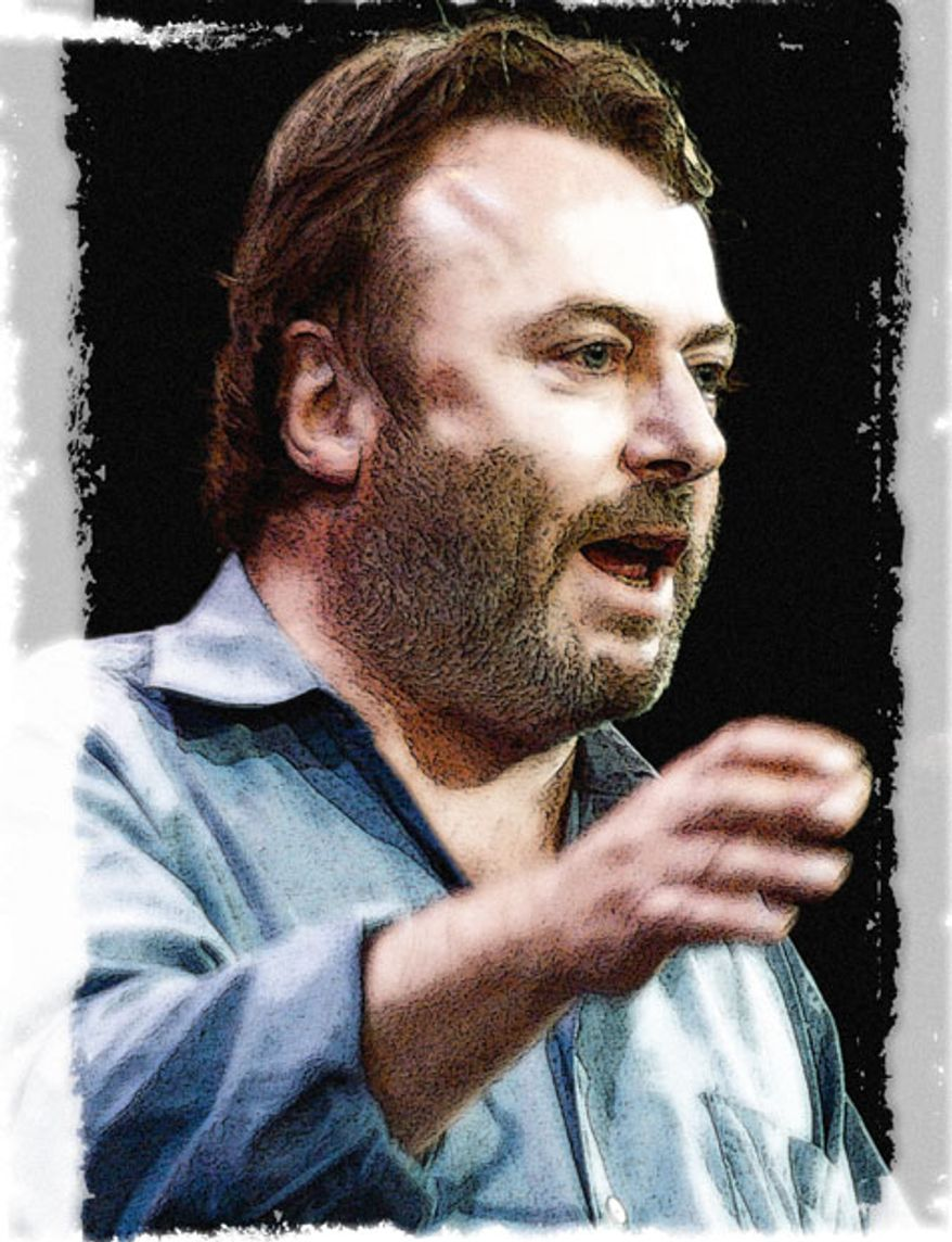 Illustration: Christopher Hitchens by Greg Groesch for The Washington Times